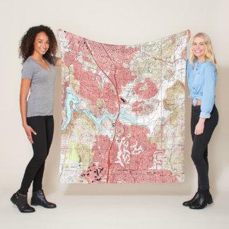 Escondido California Map (1996) Fleece Blanket