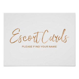 Escort Cards 8x10 Stylish Rose Gold Wedding Sign