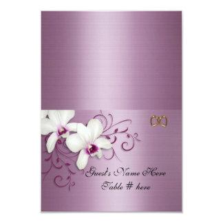 "Escort cards White orchids lavender satin 3.5"" X 5"" Invitation Card"