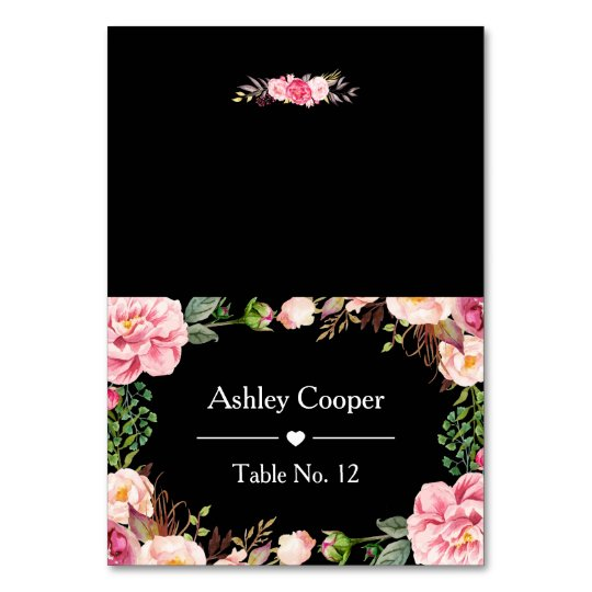 Escort Place Card Romantic Pink Floral Wrapping