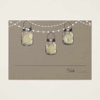 Escort Seating Card Mason Jar String of Lights