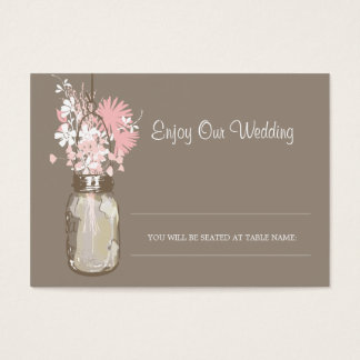 Escort Seating Card Wild Flowers & Mason Jar