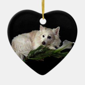 Eskie Heart Ornament