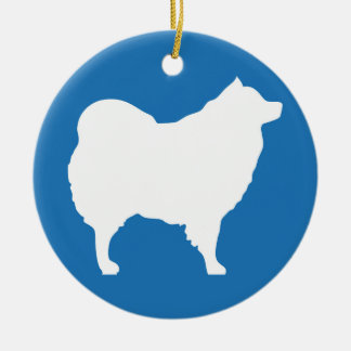 Eskie on Blue Ornament