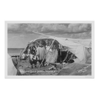 Eskimo Camp Nome, Alaska Photo 1916 Poster