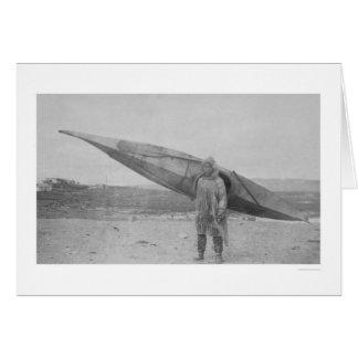 Eskimo Carrying Kayak 1909 Card