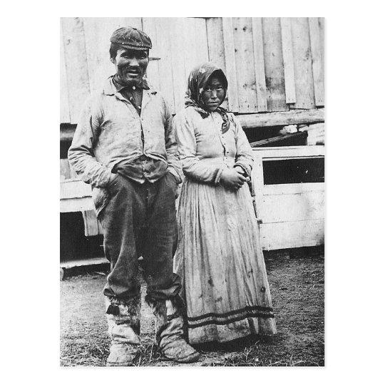 eskimo couple postcard