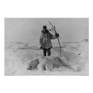 Eskimo Hunter with Polar Bear Photograph Poster