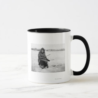 Eskimo Ice Fishing in Nome, Alaska Photograph Mug