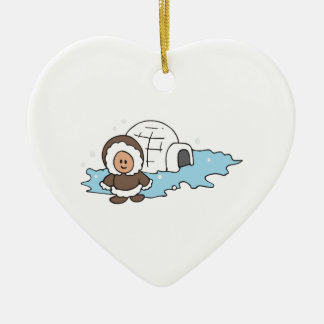 ESKIMO IGLOO CERAMIC ORNAMENT