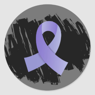 Esophageal Cancer Periwinkle Ribbon With Scribble Classic Round Sticker