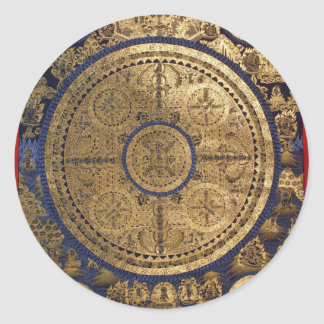 ESOTERIC GOLDEN THANGKA ART CLASSIC ROUND STICKER