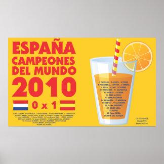 España 2010 World Champions Futbol Poster