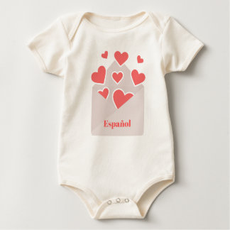 Español an envelope with hearts floating out of it baby bodysuit