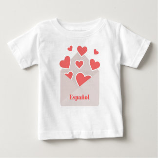 Español an envelope with hearts floating out of it baby T-Shirt