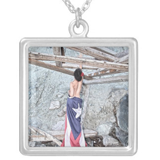 Esperanza - full image silver plated necklace