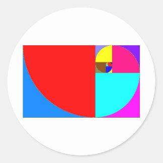 espiral fibonacci classic round sticker