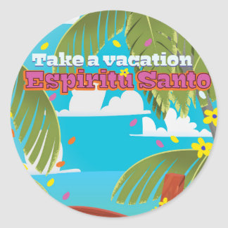 Espiritu Santo vacation travel poster. Classic Round Sticker