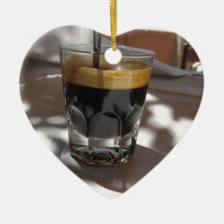 Espresso coffee with rum, sugar and lemon rind ceramic ornament