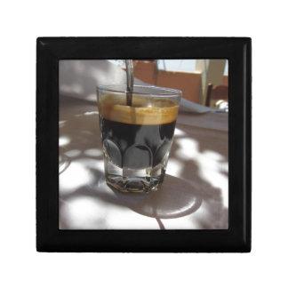Espresso coffee with rum, sugar and lemon rind trinket box