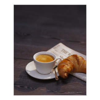 espresso, croissant and newspaper poster