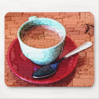 Espresso Cup and Spoon Word Cloud Mouse Pad