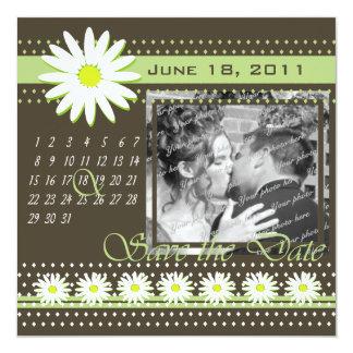 Espresso Daisy/ Green Save the Date Card