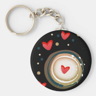 espresso love mod cute basic round button keychain