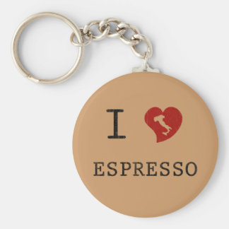 Espresso lovers I Love Espresso Basic Round Button Keychain