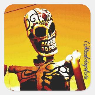 Esqueleto con Fuego Square Sticker
