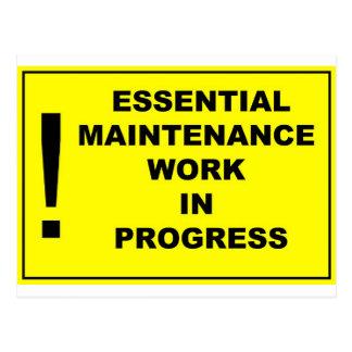 Essential maintenance work in progress postcard