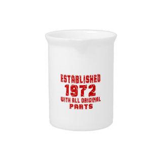 Established 1972 With All Original Parts Beverage Pitcher