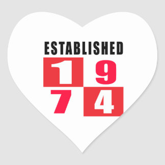 Established 1974 Birthday Designs Heart Sticker