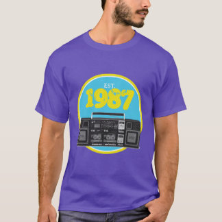 Established 1987 - Retro Boombox T-Shirt