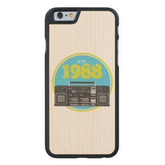 Established 1988 - Retro Boombox Wood iPhone Case
