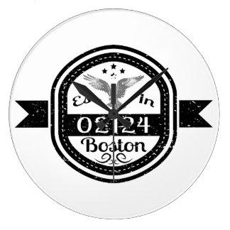 Established In 02124 Boston Large Clock