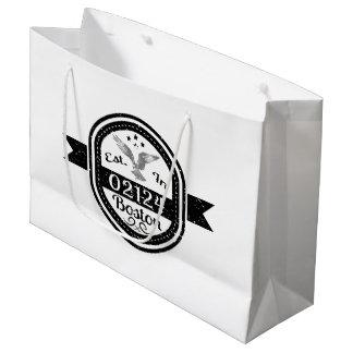 Established In 02124 Boston Large Gift Bag