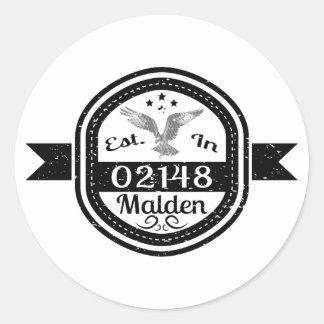 Established In 02148 Malden Classic Round Sticker
