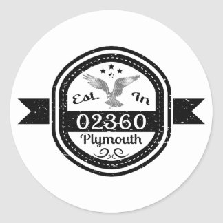 Established In 02360 Plymouth Classic Round Sticker