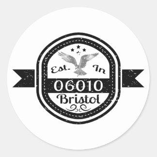 Established In 06010 Bristol Classic Round Sticker