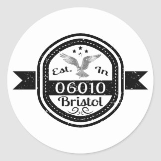 Established In 06010 Bristol Round Sticker