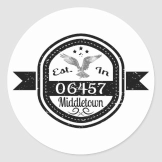 Established In 06457 Middletown Classic Round Sticker