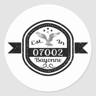 Established In 07002 Bayonne Classic Round Sticker