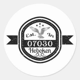 Established In 07030 Hoboken Classic Round Sticker