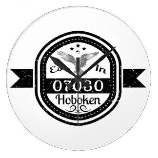 Established In 07030 Hoboken Large Clock