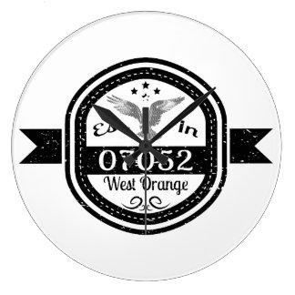 Established In 07052 West Orange Large Clock