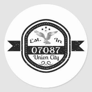 Established In 07087 Union City Classic Round Sticker