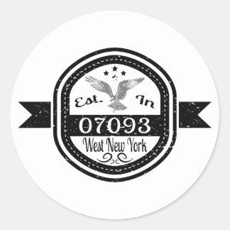 Established In 07093 West New York Classic Round Sticker
