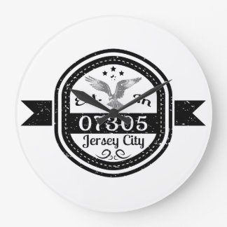 Established In 07305 Jersey City Large Clock