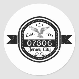 Established In 07306 Jersey City Classic Round Sticker